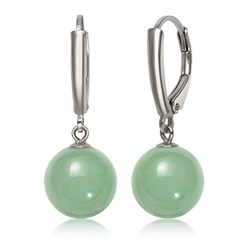 Sterling Silver Natural Green Jade Lever Back Drop Dangle Earring for Women
