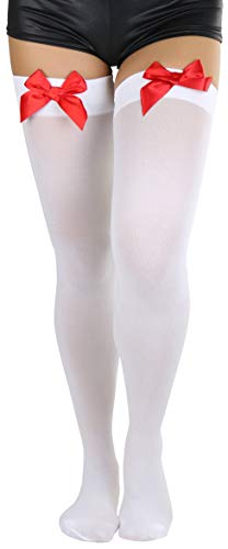ToBeInStyle Women's Opaque Satin Bow Accent Thigh Highs - White/Red - One Size ()