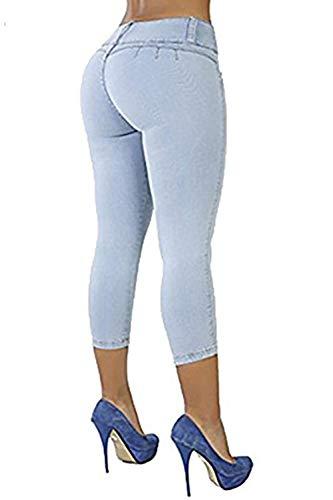 Pantalones Modernas Hellblau Vaqueros Sólido De Moda Capri Elásticos Delanteros Casual Con Mezclilla Ajustados Color Botones Lápiz WUUrwqCY