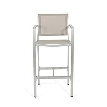Christopher Knight Home 304258 Tammy Coral Outdoor Grey Mesh 29.50 Inch Barstools with Silver Rust-Proof Aluminum Frame Set of 2 ,