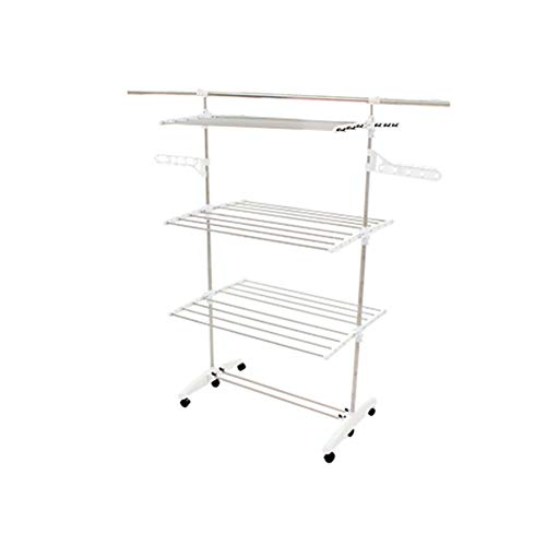 UPIT Rolling Foldable Movable Clothes Drying Rack 6 Tier Lau