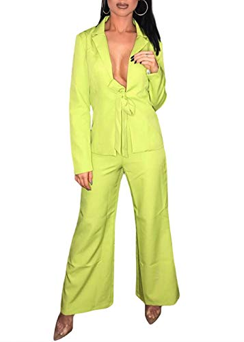 Ohvera Women's Solid Long Sleeve Front Bow Tie Two Piece Blazer Wide Leg Pants Suit Jumpsuit with Collar Green Small