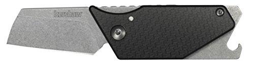 Carbon Screwdriver (Kershaw Pub Carbon Fiber Multifunction Pocket Knife (4036CFX); 1.6-In 8Cr13MoV Stonewash Blade and Carbon Fiber Handle, Includes Screwdriver Tip, Pry Bar, Key Chain Attachment, Bottle Opener; 1.8 OZ)