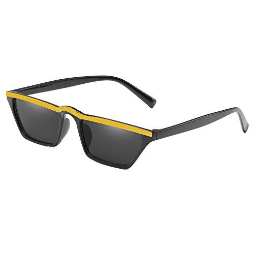 Yellow Black Flat Eye Shade Retro Cat Top Small Eyewear Sunglasses Women Vintage Fashion Px7T4nZXq