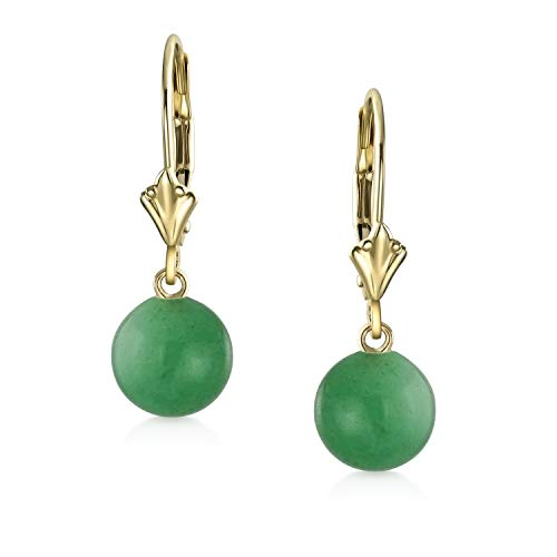 - Real 14K Yellow Gold Created Green Jade Round Bead Leverback Dangle Ball Drop Earrings For Women March Birthstone