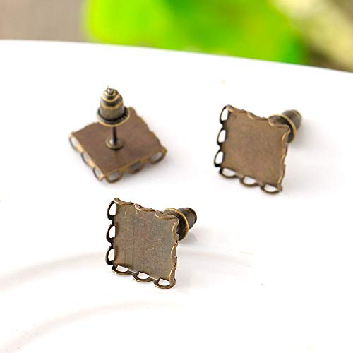 Kamas 10mm 20pcs Antique Bronze Plated Copper Square Lace Ear Studs Earring Setting Base Cabochon Cameo (with - Lace Stud