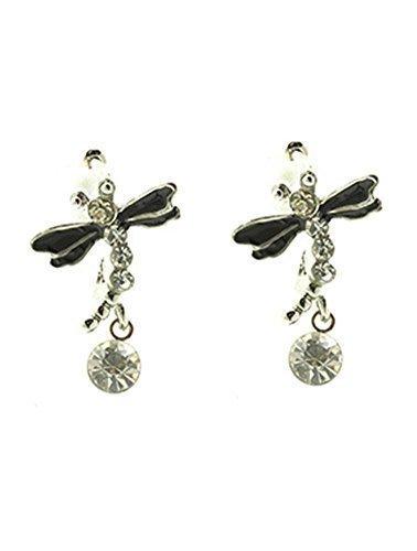 ac23c63c01 beyoutifulthings Damen Edelstahl 1 Paar Ohrringe silbern Libelle schwarze  Epoxidflügel Zirkonia farblos Länge 1,9cm