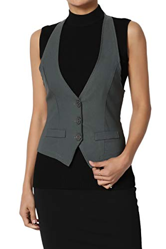 (TheMogan Junior's Dressy Casual Racerback Slim Suit Vest Waistcoat Charcoal)