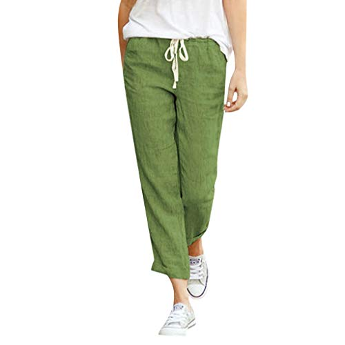 Sunhusing Women Stretch Elastic Band Drawstring Lace-Up Cotton Linen Solid Color Casual Loose Trousers Pant Green