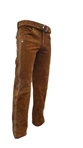 Trachten Lederhose lang inklusive Gürtel in Camel farbe Echt Leder Trachtenlederhosen Gr. 46-62 (taillenmaß stehen im beschreibung) (46, Camel)