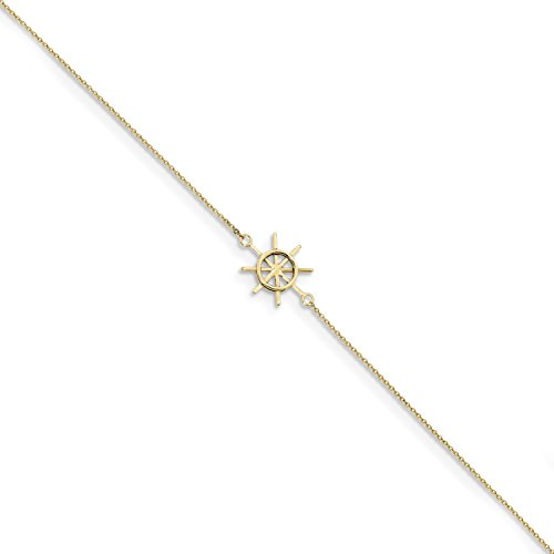 ICE CARATS 14k Yellow Gold Captains Wheel 1in. Adjustable Chain Plus Size Extender Anklet Ankle Beach Bracelet Seashore Fine Jewelry Gift Set For Women Heart by ICE CARATS