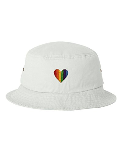 Rainbow Heart Embroidered Bucket Cap Dad Hat (Rainbow Embroidered Hat)