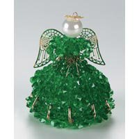 CraftKitsAndSupplies Beaded Safety Pin Angel Kit - May/Emerald, - Pin Angel Christmas