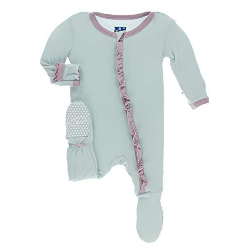 Kickee Pants Little Girls Solid Classic Ruffle Footie with Zipper - Spring Sky with Sweet Pea, 3-6 Months