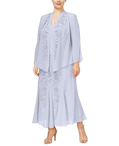 R&M Richards Women's 14W- 34W Plus Size Beaded Jacket Dress - Mother of The Bride Dresses (Periwinkle, 18W)]()
