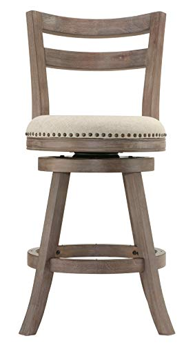Cortesi Home Harper Counter Stool Beige Fabric Swivel Seat with Back (Oak Bar Brass Stool)