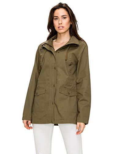 Lock and Love LL WJC1862 Womens Casual Safari Anorak Jacket with Hoodie S Olive