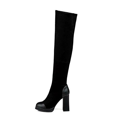 Allhqfashion Solid Mix Materialen Van Vrouwen Hoge Hakken Pull Op Ronde Laarzen Met Gesloten Neus Zwart