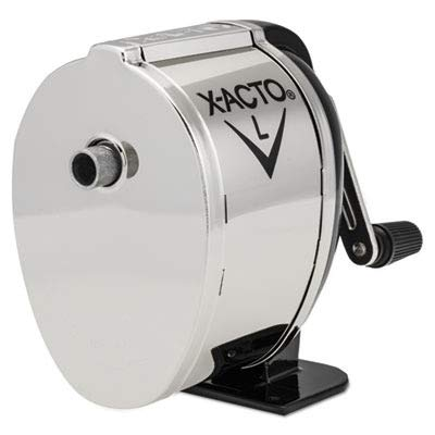 Receptacle Chrome Pencil Sharpener Mount - EPI1041 - X-acto L Counter-Mount/Wall-Mount Manual Pencil Sharpener