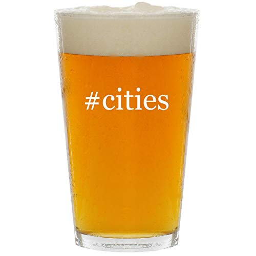 #cities - Glass Hashtag 16oz Beer Pint