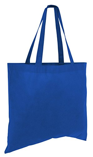 25 Pack - Budget Friendly Large Totes Lightweight Non Woven Cheap Wholesale Bulk Gift Tote Bags For Crafting Giveaway Candy Toys Beach Grocery Events Shopping and More! (Royal) ()