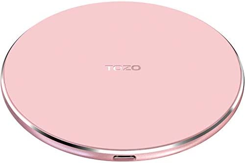 TOZO W1 Wireless Charger Thin Aviation Aluminum Computer Numerical Control Technology Fast Charging Pad Pink (NO AC Adapter)