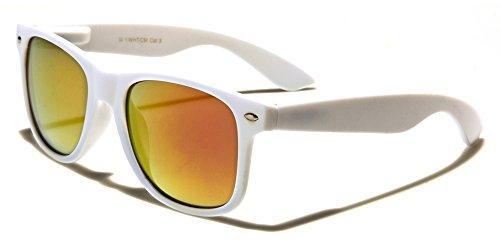 Mirozi Unisex White Wayferer Sunglasses With Colored Mirrored Lens (White, Yellow/Orange - Glasses Wayferer