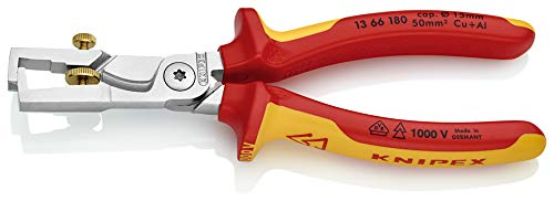 VDE-Tested 180 mm Colour Knipex 13 66 180 Strix Stripper with Cable Shears Chrome Plated Insulated with Multi-Component Grips