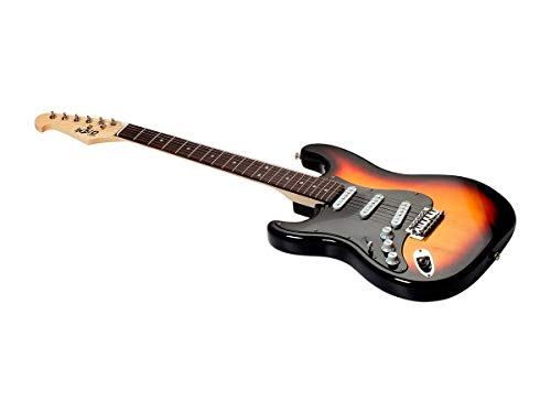 Monoprice Indio Cali Classic Lefty Electric Guitar - Sunburst, With Gig Bag