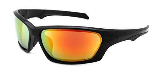 Edge I-Wear Sports Safety Sunglasses ANSI Z87+ Color Mirror Lens 570092/REV-1(BLK.rrev)