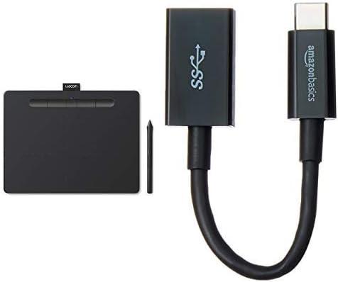 【Amazon.co.jp限定】 ワコム ペンタブレット ペンタブ Wacom Intuos Mediumワイヤレス クリスタ付き ブラック データ TCTL6100WL/K0 + Amazonベーシック USBアダプター 14cm (タイプC - 3.1Gen1(メス)) ブラック