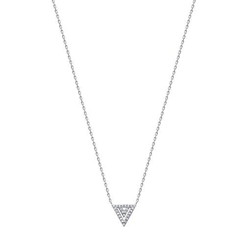 Collier en Argent 925/000 Rhodié et Oxyde de Zirconium - Triangle - Bijou Femme