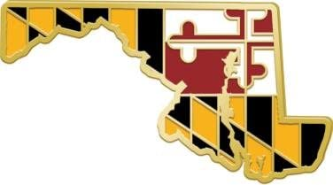 Crown Awards Maryland State Flag Pins Shape of MD Lapel Pins Prime