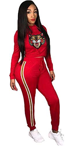 (Women's 2 PCS Hooded Tiger Embroidered Sweatshirts Tops Bodycon Pants Sexy Party Nightclub Sports Outfits Set Set)