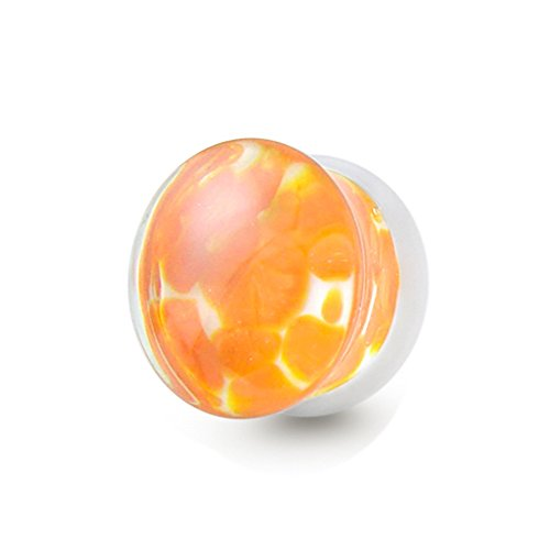 Tunnel-Plug-Taper 14MM Orange Pebble Pyrex Glass Double Flared, Saddle Ear Plug Body jewelry. Price per 1 Piece only. by Tunnel-Plug-Taper