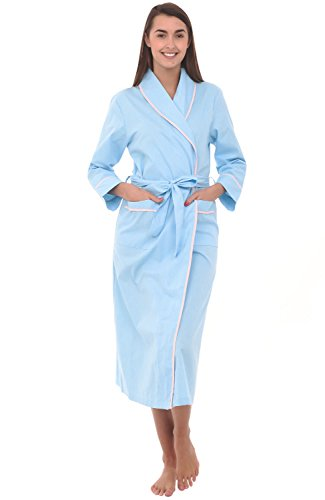 Alexander Del Rossa Women's Lightweight Cotton Kimono Robe, Summer Bathrobe, XL Light Blue with White Dots (A0515R54XL)