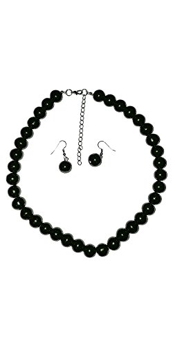 Large Faux Pearl Necklace and earring set (Black) By Millennium Design