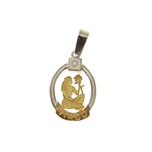 Pendentif en or jaune et blanc avec horoscopo signe virgo