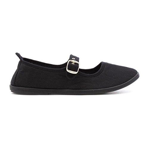 Lilley Womens Black Casual Canvas Bar Shoe Black TK4Fw