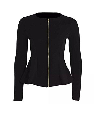 Size Blazer Tailored Ruffle Top Up Ladies Jacket Womens 8 Zip Black Peplum New 16 Plain fxqY0SgPwn