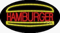 Hamburger LED Sign - 27 x 15 x 1 inches - Made in USA