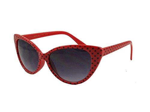 Lunettes de Mod Polka spots Poche Noir Dot retroUV® Oeil avec Rouge Mode Chat de Super Femmes retroUV® Cat Soleil YxqvBwAtqn