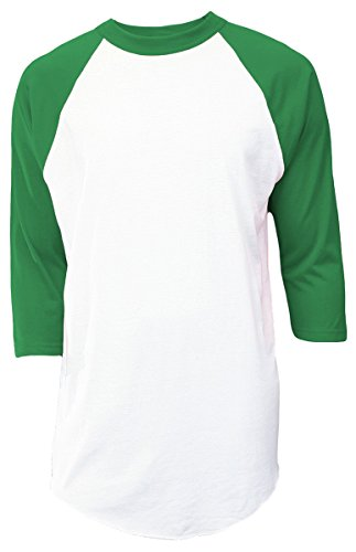 Soffe Mens Classic Raglan 3/4 Sleeve T-Shirt White/Green L