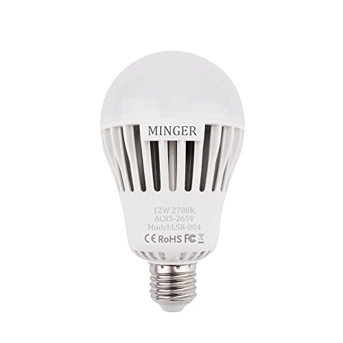 Led Outdoor Post Lamp (Dusk to dawn Lights Bulb, MINGER 12W A25 LED Bulbs with Auto on/off, Indoor / Outdoor Lighting Lamp for Porch, Hallway, Patio, Garage (E26/E27, 1200lumen, Warm White))