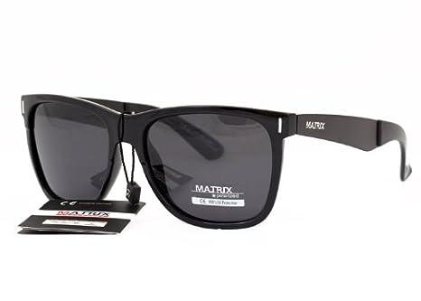 8c90435b9c8 Matrix Collection Retro Wayfarer Design Polarized Sunglasses for Driving    Black Frame - Grey Lenses - Anti Glare  Amazon.co.uk  Clothing