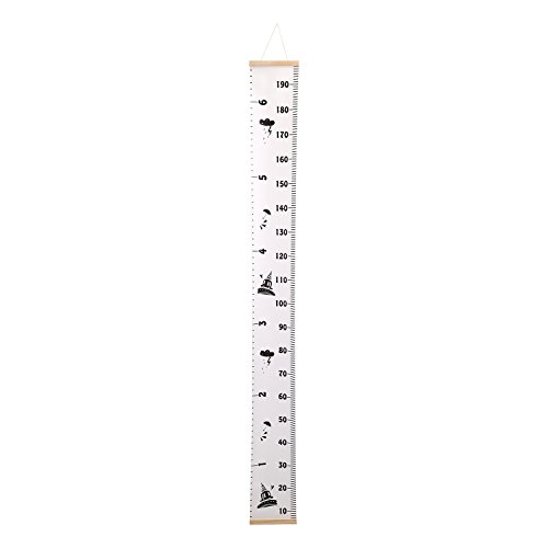 Corodo Baby Height Growth Chart Hanging Rulers Room Decoration Wall Decor Removable Wood Frame Canvas Clouds Printing Growth Ruler for Kids 76.4