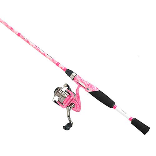 Ardent Lady Fishouflage Spinning Combo – Pink Fishing Rod and Reel – Two Piece Graphite 6 6 Rod with 5.5 1 Gear Ratio Reel
