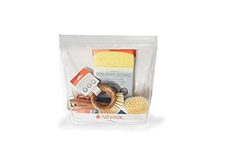 Full Circle Home Sum Of All Fears Starter Cleaning Kit | Eco-Friendly/Sustainable Kitchen Set (4-Piece) | 1 Gallon Reusable Storage Bag, Dish Brush, Veggie Brush, & Sponge (Cello Kitchen Sponges)