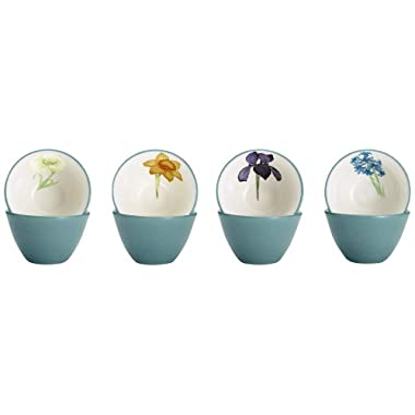 Noritake Colorwave Floral Bowl, 4-Inch, Turquoise, Set of 4