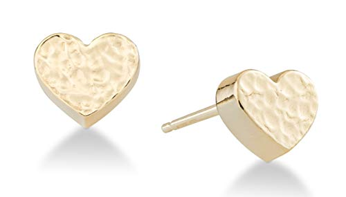 MiaBella Sterling Silver Hammered Minimalist Dainty Love Heart Stud Earrings for Women Teen Girls, Choice of White or Yellow, Hypoallergenic Nickel Free, Made in Italy - Earrings Gold Italian